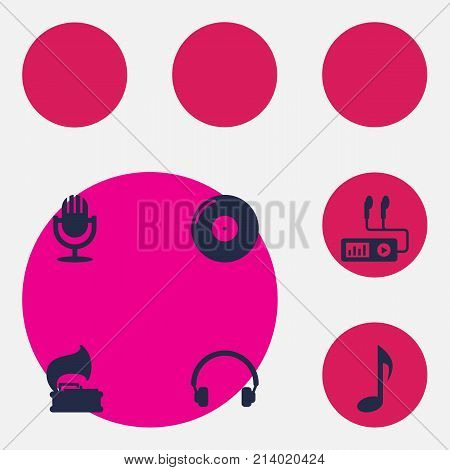 Collection Of Turntable, Retro Disc, Tone Symbol And Other Elements.  Set Of 6 Song Icons Set.