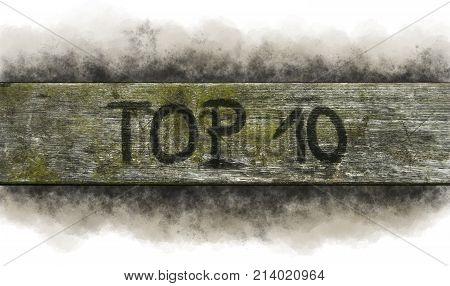 painted top 10 on old wooden plank