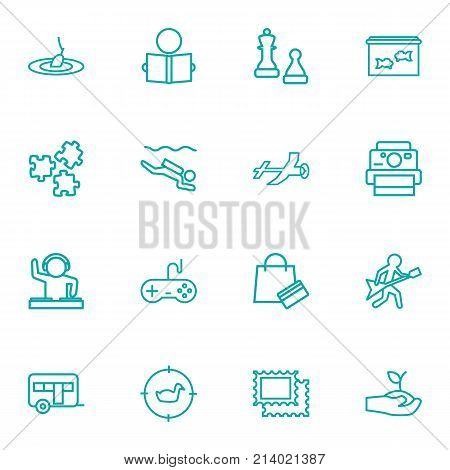 Collection Of Aeromodeling, Photography, Video Game And Other Elements.  Set Of 16 Hobbie Outline Icons Set.