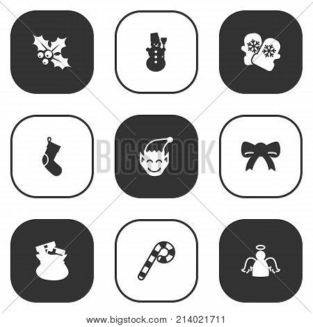 Collection Of Ilex, Archangel, Ice Person And Other Elements.  Set Of 9 Holiday Icons Set.