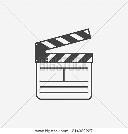 Movie clapperboard monochrome icon on white backgruond. Vector illustration.
