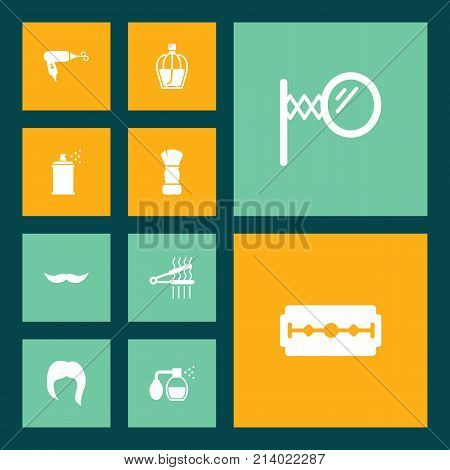 Collection Of Looking-Glass, Blow-Dryer, Hairspray And Other Elements.  Set Of 10 Barbershop Icons Set.
