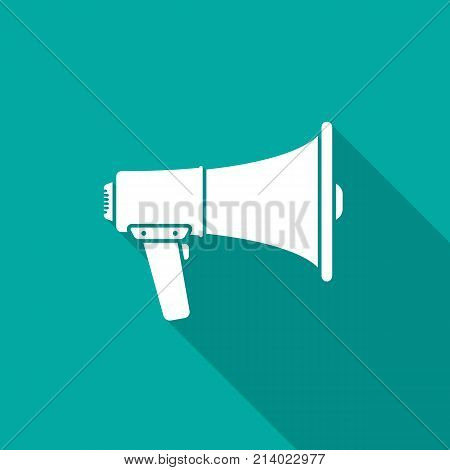 Megaphone icon with long shadow. Flat design style. Megaphone simple silhouette. Modern minimalist icon in stylish colors. Web site page and mobile app design vector element.