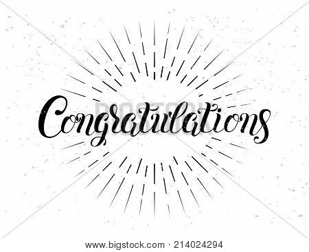 Congratulations hand lettering. Handmade calligraphy vector illustration. Perfect for greeting card text banner invitation