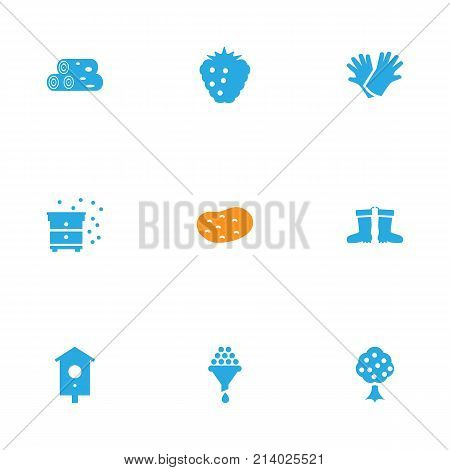 Collection Of Tuber, Garden, Filter And Other Elements.  Set Of 9 Horticulture Icons Set.