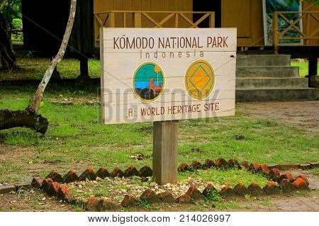 Rinca, Indonesia - March 15: Komodo National Park Sign At The Visitor Center On Rinca Island On Marc