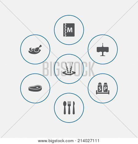 Collection Of Grill, Condiments, Silverware And Other Elements.  Set Of 7 Cafe Icons Set.