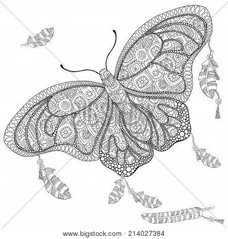 Artistically butterfly and feathers on a white background. Adults coloring book. Art zentangle doodle design elements. Stock vector. Zentangle patterns. Coloring book page for adult and children.