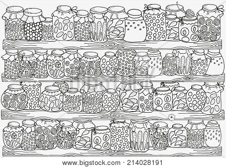 Pattern for coloring book. A4 size. Set of glass jars with jam and other on wooden shelves. Pantry. Canning. Hand-drawn decorative elements in vector. Black and white. Zentangle.