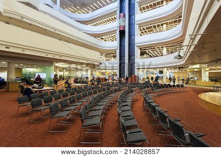 Toronto Canada - Oct 12 2017: Interior of the Toronto Reference Library. This library is one of the three largest libraries in the world. Province of Ontario Canada