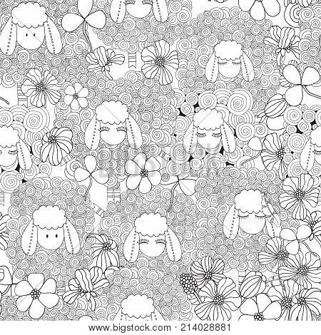 Seamless Pattern. Coloring Book Page For Adult And Children.