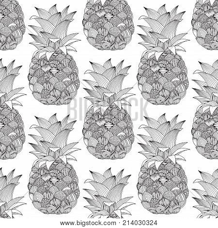 Seamless pattern. Artistic pineapple on white background. Hand-drawn, doodle, vector, zentangle, tribal design element. Black and white background. Zen art. Coloring book page for adult.
