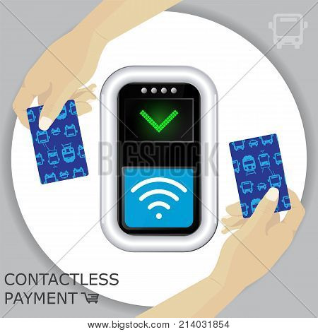Circle background and Terminal with hands and transport ticket cards. Contactless payment communication technology. Near-field communication protocol. Card Payment Vector Icon. Wireless payment.