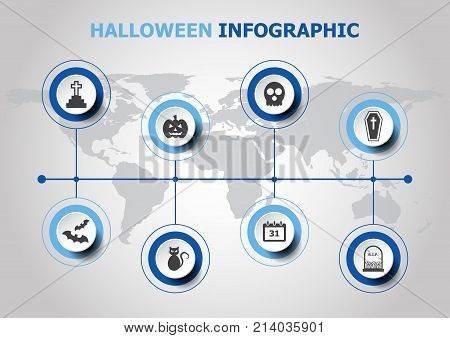 Infographic design with Halloween icons, stock vector