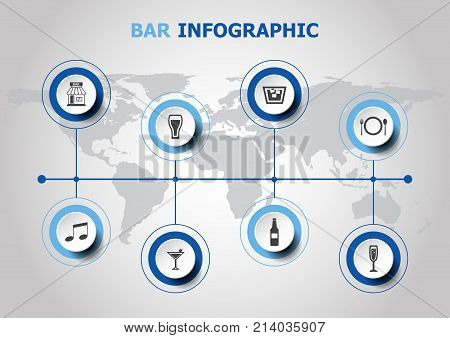 Infographic design with bar icons, stock vector