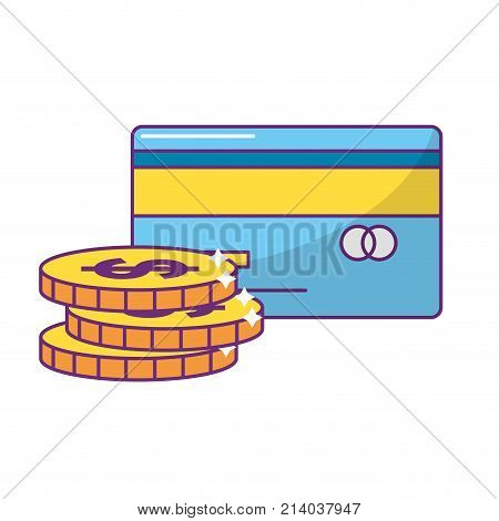 Coins and credit card of money financial and commerce theme Isolated design Vector illustration