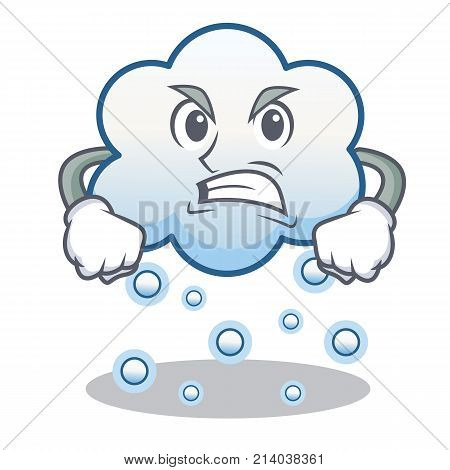Angry snow cloud character cartoon vector illustration