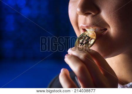 bitcoin woman hold mining cryptography virtual beautiful