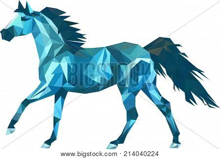 Vector triangle horse. Abstract horse of geometric shapes. Sign of the blue horse.