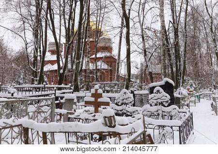 NIZHNY NOVGOROD, RUSSIA - NOVEMBER 07, 2016: The Orthodox Old Believer Church of the Assumption of the Mother of God at Red (Bugrovsky) Cemetery. The church was built in 1914-1916 (V. Pokrovsky).