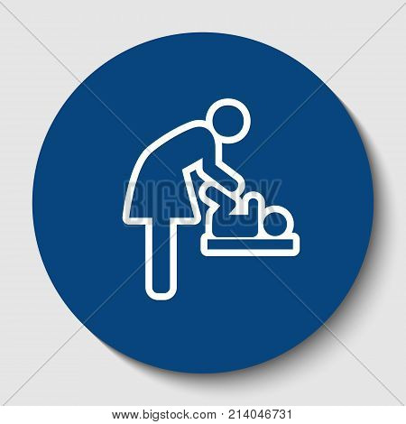 Women and baby symbol, baby changing. Vector. White contour icon in dark cerulean circle at white background. Isolated.
