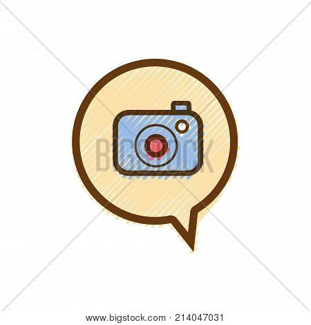 grated digital camera technology inside chat bubble vector illustration