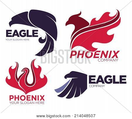Phoenix bird or fantasy eagle logo templates set for security or innovation company. Vector isolated icons of mythic firebird spread wings symbol, flame fire phoenix for airline or tattoo design