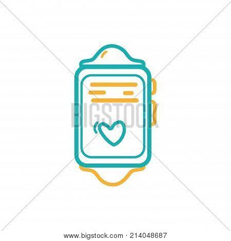 line smartwatch technology object with heartbeat rhythm vector illustration