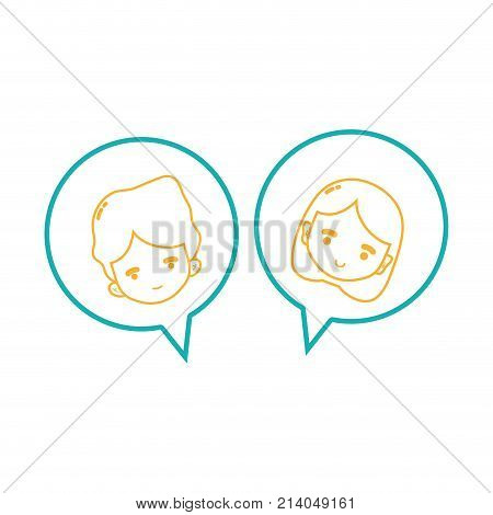line boy and girl head inside chat bubble vector illustration