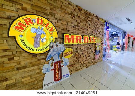 Penang Malaysia - Nov 12 2017 : MR. D.I.Y. shop. MR. D.I.Y. is the largest home improvement retailer in Malaysia. The company retails a variety of household hardware and electrical products.