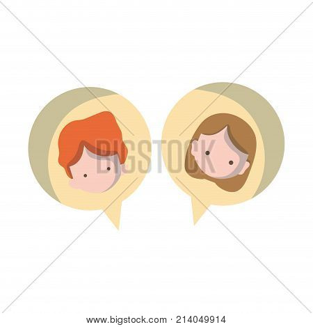 boy and girl head inside chat bubble vector illustration