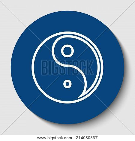 Ying yang symbol of harmony and balance. Vector. White contour icon in dark cerulean circle at white background. Isolated.