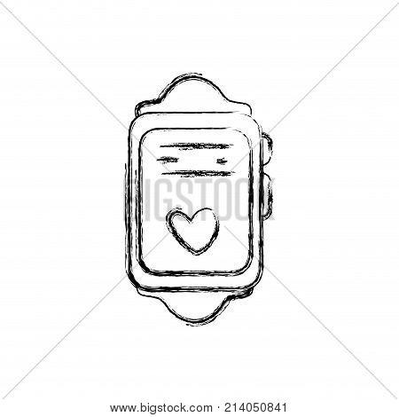 figure smartwatch technology object with heartbeat rhythm vector illustration
