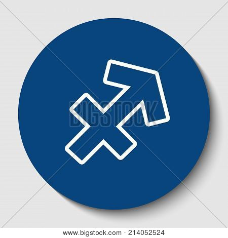 Sagittarius sign illustration. Vector. White contour icon in dark cerulean circle at white background. Isolated.