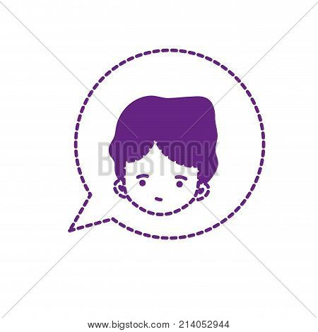 dotted shape boy head inside chat bubble designvector illustration