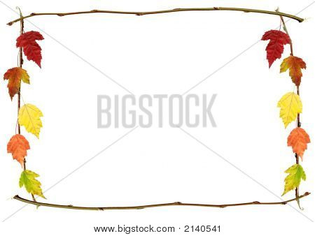 Autumn Frame With Branches And Leaves