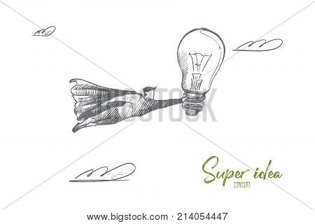 Super idea concept. Hand drawn superhero with big light bulb in hand. Flying man holds bulb as symbol of new best idea isolated vector illustration.