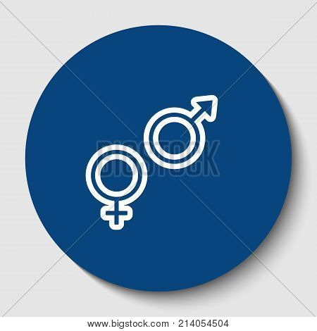 Sex symbol sign. Vector. White contour icon in dark cerulean circle at white background. Isolated.