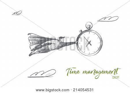 Time management concept. Hand drawn superhero with big clock in hand. Flying man holds watch which remind about deadline isolated vector illustration.