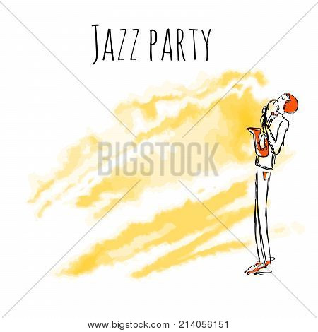 Saxaphone player on watrecolor background. Vector jazz party poster template with copy space.