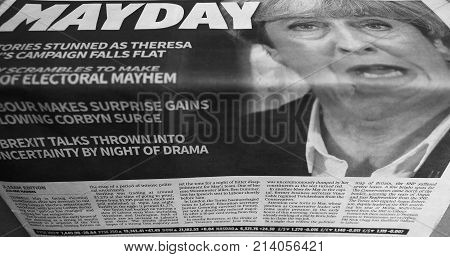 Newspapers Showing Theresa May Black And White