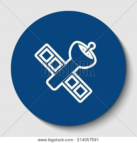 Satellite sign illustration. Vector. White contour icon in dark cerulean circle at white background. Isolated.