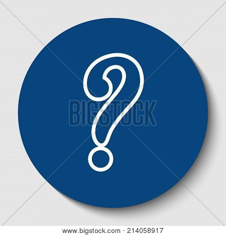 Question mark sign. Vector. White contour icon in dark cerulean circle at white background. Isolated.