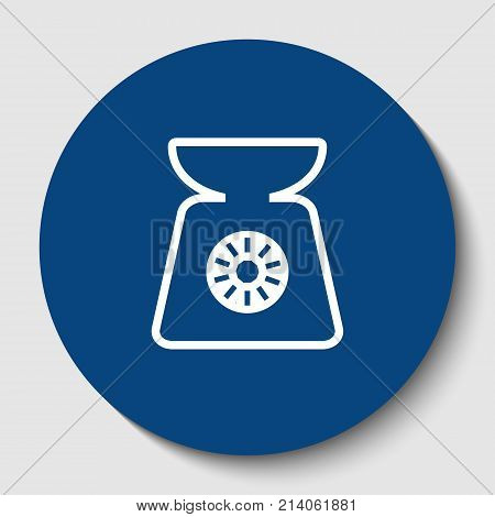 Kitchen scales sign. Vector. White contour icon in dark cerulean circle at white background. Isolated.