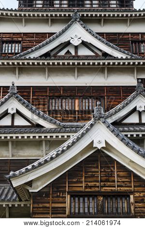 Hiroshima, Japan -  May 25, 2017: Replica of the original wooden Hiroshima Castle, Carp castle in Hiroshima