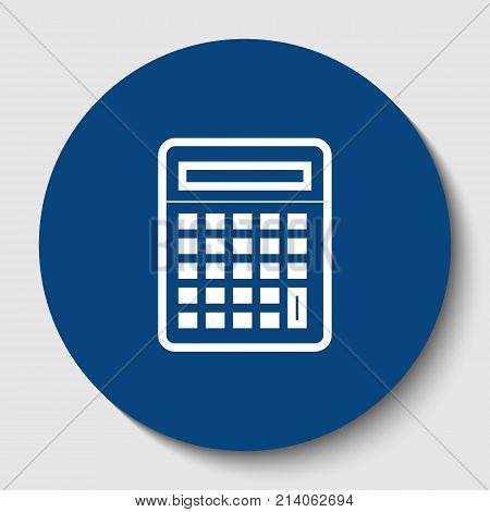 Calculator simple sign. Vector. White contour icon in dark cerulean circle at white background. Isolated.