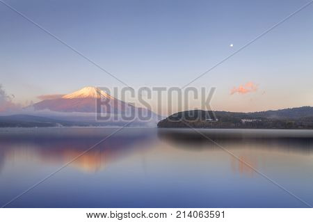 Mt.Fuji in morning with reflection on lake Yamanaka