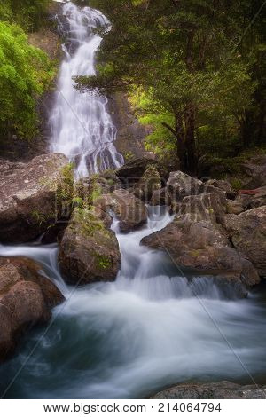 Deep forest waterfall, Salika waterfall, Nakorn Nayok,Thailand. Travel destination in Thailand.