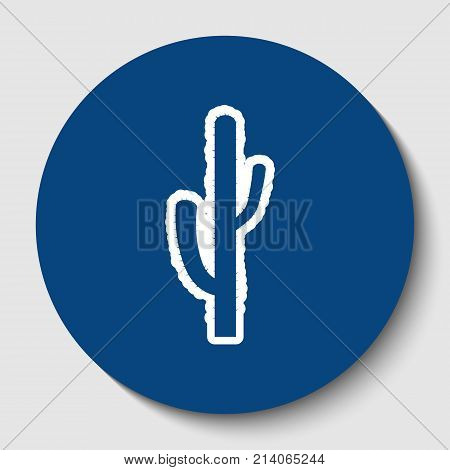 Cactus simple sign. Vector. White contour icon in dark cerulean circle at white background. Isolated.
