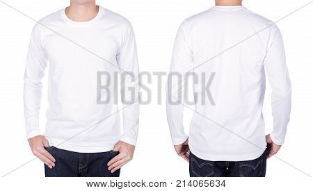Man In White Long Sleeve T-shirt Isolated On White Background